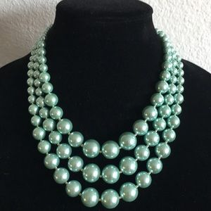 Charter Club Mint Green Triple Faux Pearl Necklace